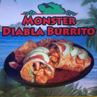 Wana Iguana Fresh Baja Grill Monster Diable Burrito