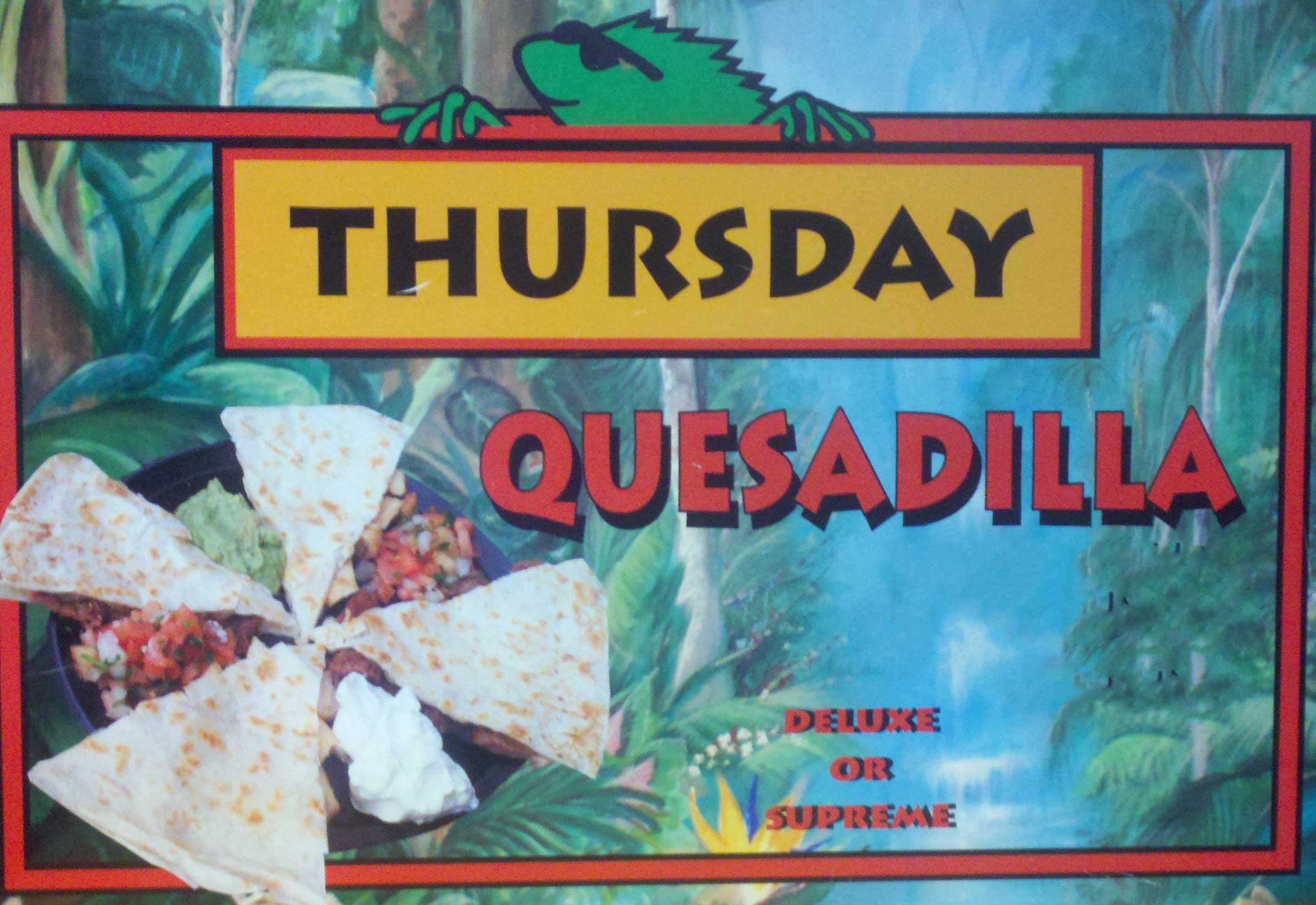 Wana Iguana Fresh Baja Grill Thursday Special